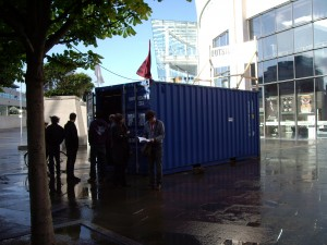 exterior of the shipping container